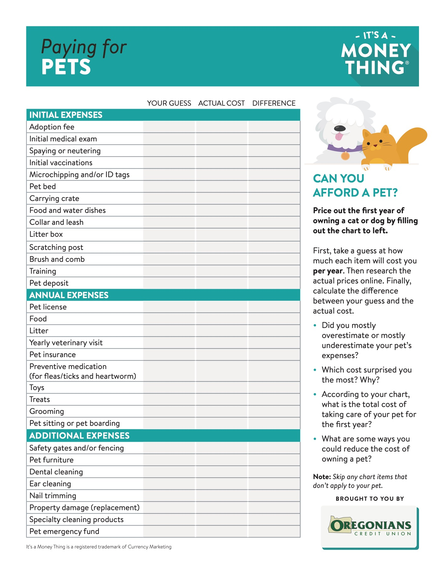 Paying for pets - Handout