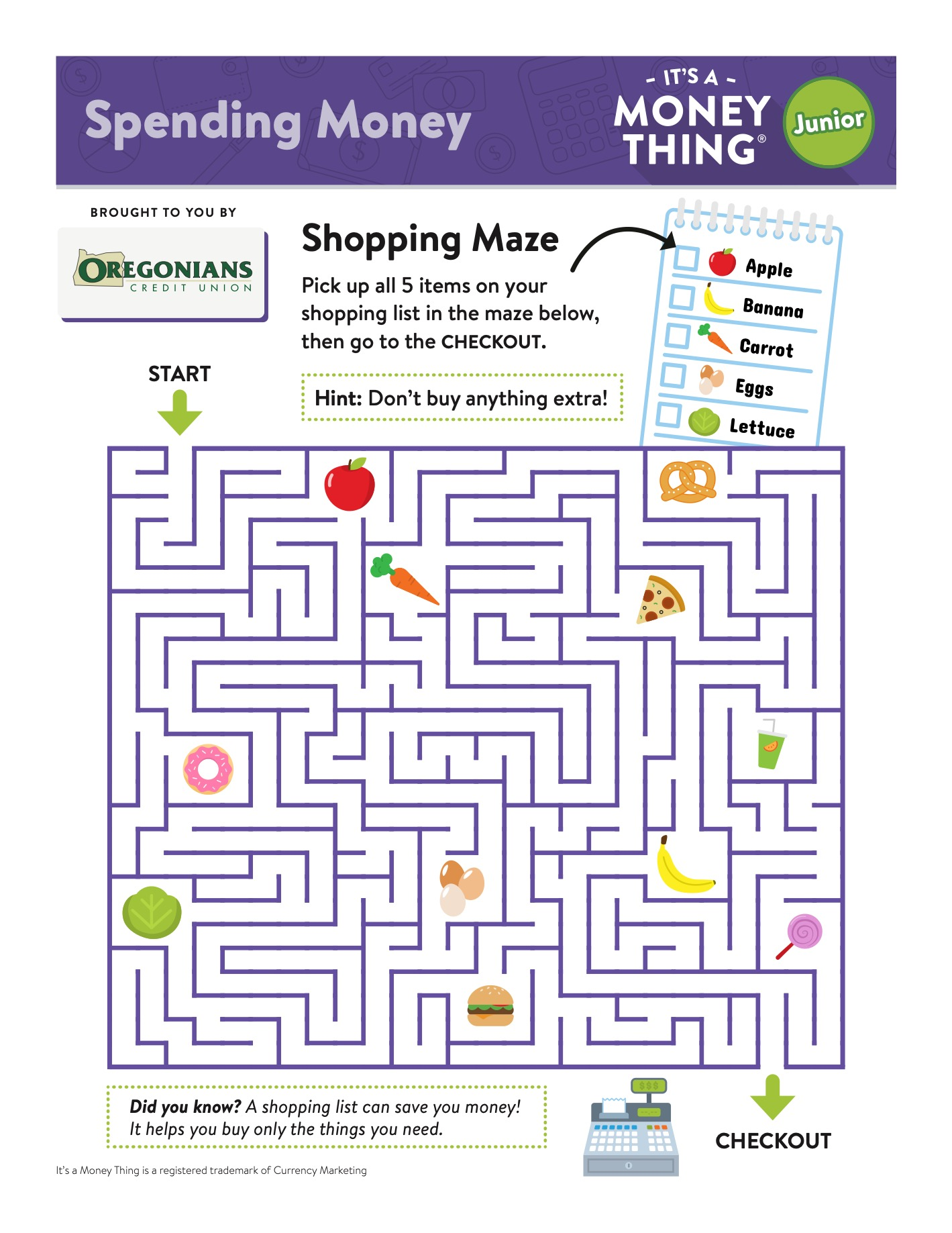 IAMT Jr Spending Money - activity sheet